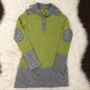 Free People Green Long Sleeve Sweater Dress